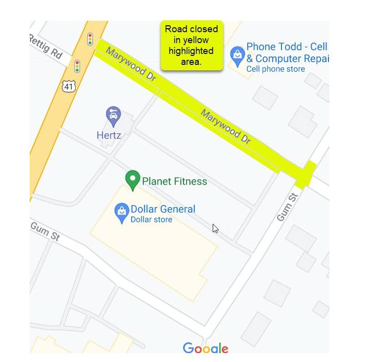 Marywood Drive road closure 8 July 2021